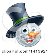 Happy Winter Christmas Snowman Face With A Top Hat
