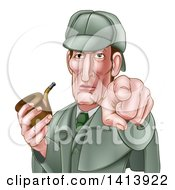 Clipart Of A Cartoon Sherlock Holmes Victorian Detective Holding A Pipe And Pointing Outwards Royalty Free Vector Illustration
