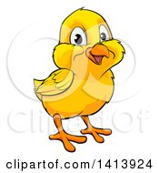 Clipart Of A Cartoon Cute Happy Yellow Easter Chick Royalty Free Vector Illustration