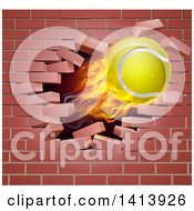 Clipart Of A 3d Flying And Blazing Tennis Ball With A Trail Of Flames Breaking Through A Brick Wall Royalty Free Vector Illustration