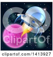 Clipart Of A Flying Saucer Ufo In Outer Space Near A Pink Planet Or Moon Royalty Free Vector Illustration