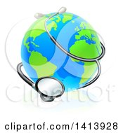 Clipart Of A World Earth Globe Wrapped In A Stethoscope Royalty Free Vector Illustration by AtStockIllustration