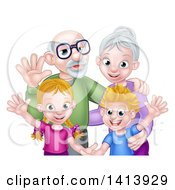 Clipart Of Happy Caucasian Grandparents And Grandchildren Waving Royalty Free Vector Illustration