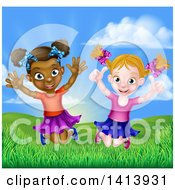 Clipart Of Happy Girls Jumping Outside Against A Sunrise Royalty Free Vector Illustration