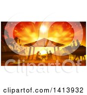 Clipart Of An Orange Toned Nativity Scene With Animals Wise Men The City Of Bethlehem And Star Of David Royalty Free Vector Illustration by AtStockIllustration