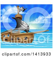 Clipart Of A Pirate Ship Flying The Jolly Roger Flag In A Beautiful Blue Sea At Sunrise Royalty Free Vector Illustration by AtStockIllustration