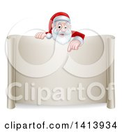 Cartoon Happy Christmas Santa Claus Pointing Down Over A Scroll Sign