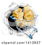Clipart Of A 3d SALE Shopping Cart Breaking Through A Wall Royalty Free Vector Illustration