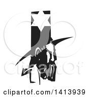 Clipart Of A Black And White Woodcut Profile Portrait Of A Medieval Jewish Man Under A Star Royalty Free Vector Illustration