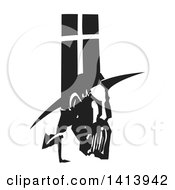Clipart Of A Black And White Woodcut Profile Portrait Of A Spanish Inquisitor Under A Cross Royalty Free Vector Illustration