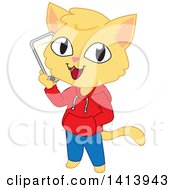 Clipart of a Happy Cat Boy Wearing Clothes and Talking on a Smart Phone - Royalty Free Vector Illustration by Rosie Piter #COLLC1413943-0023