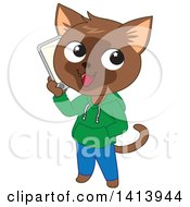 Clipart Of A Happy Brown Cat Boy Wearing Clothes And Talking On A Smart Phone Royalty Free Vector Illustration