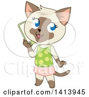 Clipart Of A Cute Siamese Kitty Cat Girl In A Skirt And Tank Top Talking On A Smart Phone Royalty Free Vector Illustration