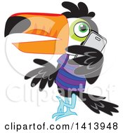 Clipart Of A Toucan Bird Wearing A Shirt Leaning And Talking On A Smart Phone Royalty Free Vector Illustration by Rosie Piter