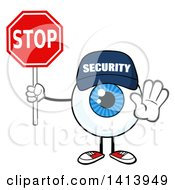 Clipart Of A Cartoon Security Guard Eyeball Character Mascot Gesturing And Holding A Stop Sign Royalty Free Vector Illustration by Hit Toon