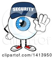 Cartoon Security Guard Eyeball Character Mascot Gesturing Stop