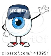 Clipart Of A Cartoon Security Guard Eyeball Character Mascot Waving Royalty Free Vector Illustration by Hit Toon