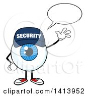 Clipart Of A Cartoon Security Guard Eyeball Character Mascot Talking And Waving Royalty Free Vector Illustration by Hit Toon