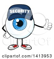 Clipart Of A Cartoon Security Guard Eyeball Character Mascot Giving A Thumb Up Royalty Free Vector Illustration by Hit Toon