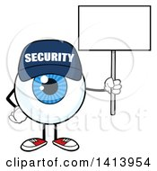 Clipart Of A Cartoon Security Guard Eyeball Character Mascot Holding A Blank Sign Royalty Free Vector Illustration by Hit Toon