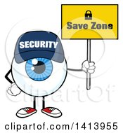 Clipart Of A Cartoon Security Guard Eyeball Character Mascot Holding A Save Zone Sign Royalty Free Vector Illustration by Hit Toon