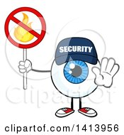Clipart Of A Cartoon Security Guard Eyeball Character Mascot Gesturing And Holding A No Fire Sign Royalty Free Vector Illustration by Hit Toon