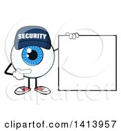 Clipart Of A Cartoon Security Guard Eyeball Character Mascot Pointing To A Blank Sign Royalty Free Vector Illustration by Hit Toon