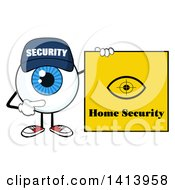 Clipart Of A Cartoon Security Guard Eyeball Character Mascot Pointing To A Home Security Sign Royalty Free Vector Illustration by Hit Toon