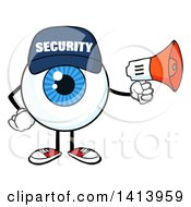 Clipart Of A Cartoon Security Guard Eyeball Character Mascot Using A Megaphone Royalty Free Vector Illustration