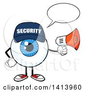 Clipart Of A Cartoon Security Guard Eyeball Character Mascot Talking And Holding A Megaphone Royalty Free Vector Illustration