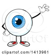 Cartoon Eyeball Character Mascot Waving
