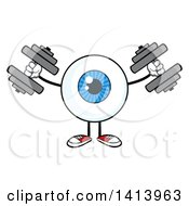 Clipart Of A Cartoon Eyeball Character Mascot Working Out With Dumbbells Royalty Free Vector Illustration by Hit Toon