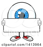 Clipart Of A Cartoon Eyeball Character Mascot Holding A Blank Sign Royalty Free Vector Illustration by Hit Toon