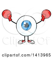Cartoon Eyeball Character Mascot Wearing Boxing Gloves