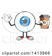 Clipart Of A Cartoon Eyeball Character Mascot Gesturing Ok And Holding A Coffee Royalty Free Vector Illustration by Hit Toon