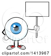 Clipart Of A Cartoon Eyeball Character Mascot Holding Up A Blank Sign Royalty Free Vector Illustration by Hit Toon