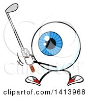 Cartoon Eyeball Character Mascot Swinging A Golf Club