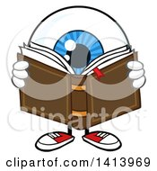 Cartoon Eyeball Character Mascot Reading A Book