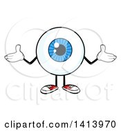 Clipart Of A Cartoon Eyeball Character Mascot Shrugging Royalty Free Vector Illustration by Hit Toon