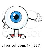 Clipart Of A Cartoon Eyeball Character Mascot Giving A Thumb Up Royalty Free Vector Illustration by Hit Toon