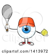 Cartoon Eyeball Character Mascot Wearing A Hat And Holding A Tennis Ball And Racket