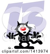 Clipart Of A Cartoon Superstition Black Cat Over 13 For Friday The Thirteenth Royalty Free Vector Illustration