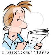 Clipart Of A Cartoon Caucasian Man Working On A Crossword Puzzle Or Job Hunting In The Classifieds Royalty Free Vector Illustration by Johnny Sajem