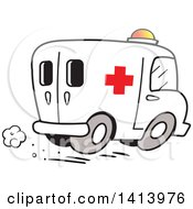 Clipart Of A Cartoon Speeding Ambulance Emergency Vehicle Royalty Free Vector Illustration by Johnny Sajem