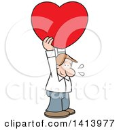 Cartoon Shy Caucasian Man Holding A Love Heart Above His Head