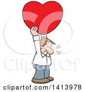 Cartoon Caucasian Man Holding A Heavy Love Heart Above His Head