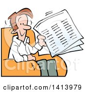 Cartoon Happy Caucasian Man Holding A Newspaper And Sitting In A Chair