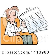 Clipart Of A Cartoon Worried Caucasian Man Holding A Newspaper And Sitting In A Chair Royalty Free Vector Illustration