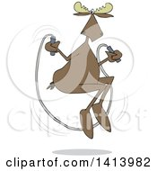 Clipart Of A Cartoon Moose Skipping Rope Royalty Free Vector Illustration