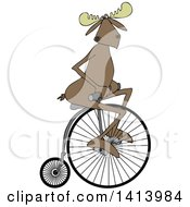 Cartoon Moose Riding A Penny Farthing Bicycle